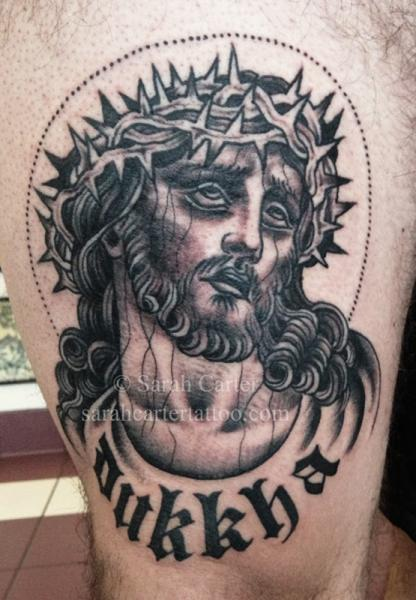 Jesus Religious Thigh Tattoo by Sarah Carter
