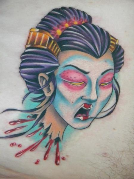 Chest Japanese Geisha Tattoo by Bearcat Tattoo
