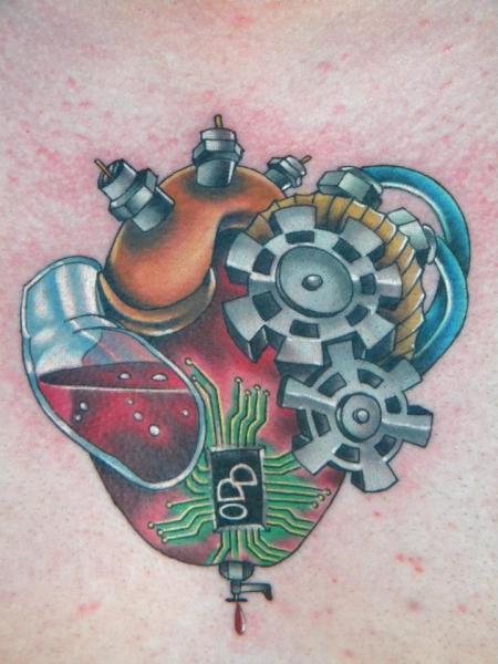 Gear Fantasy Heart Tattoo by Bearcat Tattoo