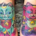 Foot Japanese Maneki Neko tattoo by Bearcat Tattoo