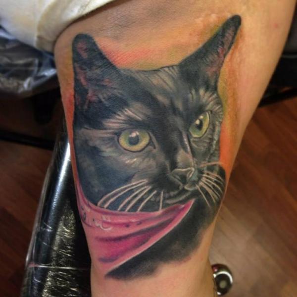Realistic Cat Tattoo by Bearcat Tattoo