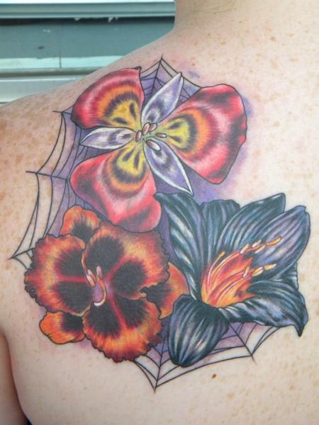 Shoulder Flower Tattoo by Bearcat Tattoo