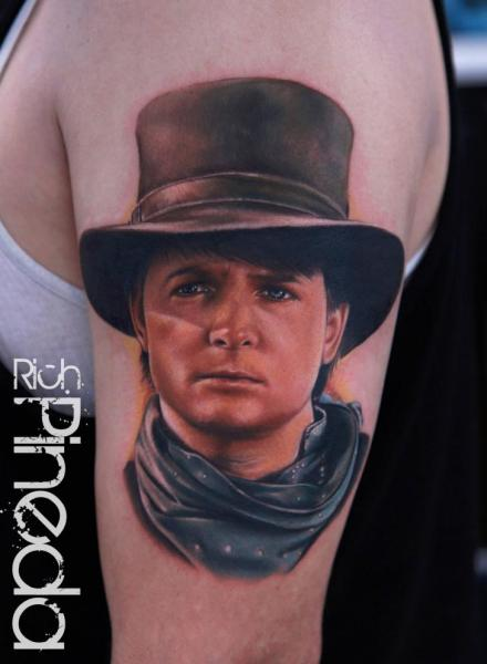 Arm Portrait Realistic Hat Tattoo by Rich Pineda Tattoo
