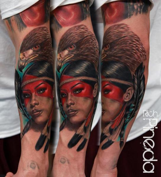 Arm Realistic Eagle Indian Tattoo by Rich Pineda Tattoo