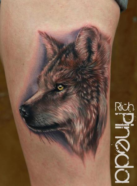 Arm Realistic Wolf Tattoo by Rich Pineda Tattoo