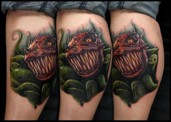 Fantasy Calf Fish Tattoo by Rich Pineda Tattoo
