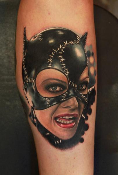 Tatuaggio Ritratti Realistici Catwoman di Rich Pineda Tattoo