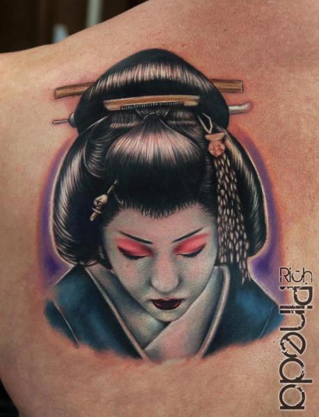 Shoulder Japanese Geisha Tattoo by Rich Pineda Tattoo