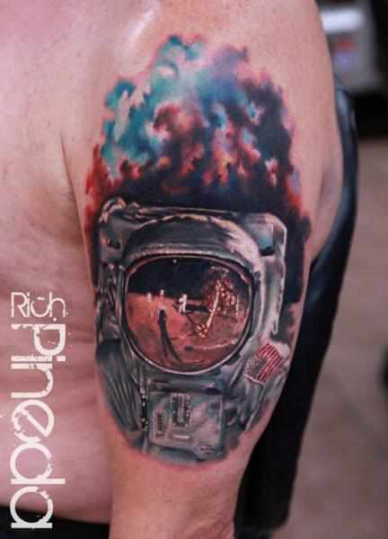 Shoulder Realistic Astronaut Tattoo by Rich Pineda Tattoo