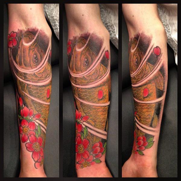 Arm Japanese Carp Tattoo by Camila Rocha