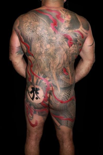 Japanese Back Dragon Butt Tattoo by Camila Rocha