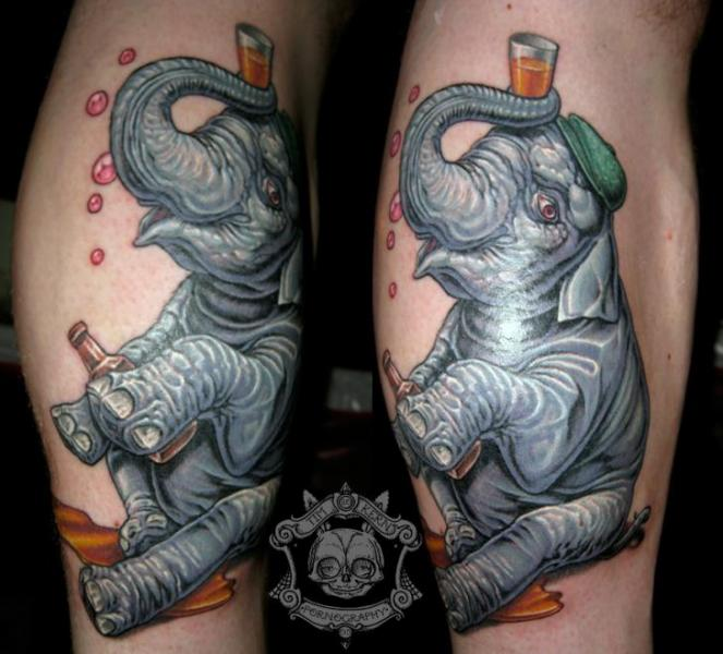 Arm Fantasy Elephant Tattoo by Tim Kerr
