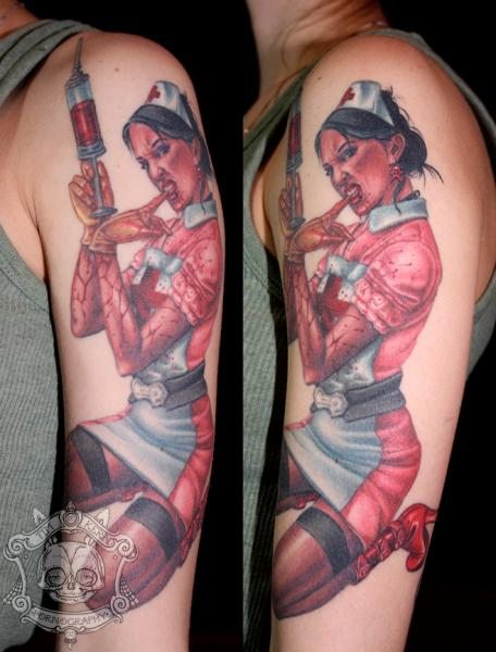 Arm Fantasy Nurse Tattoo by Tim Kerr