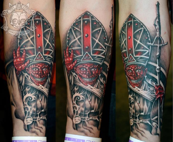 Arm Fantasy Pope Tattoo by Tim Kerr