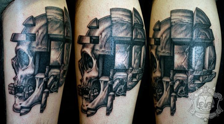 Arm Fantasy Skull Tattoo by Tim Kerr