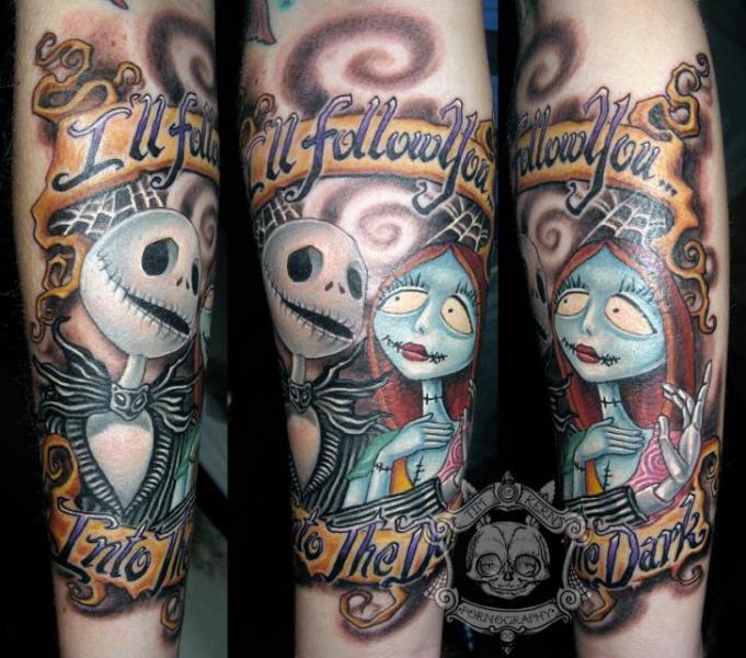 Tatuaje Brazo Fantasy Tim Burton por Tim Kerr