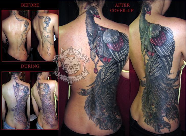 Realistic Peacock Back Tattoo by Tim Kerr