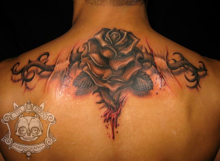 Blumen Rücken Narben Tattoo von Tim Kerr