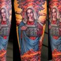 Arm Fantasy Religious Nuclear tattoo by Tim Kerr