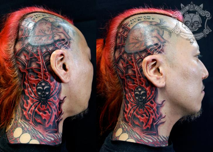 Biomechanical Head Neck Spider Web Tattoo by Tim Kerr