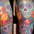 Shoulder Arm Mexican Skull tattoo by Tim Kerr