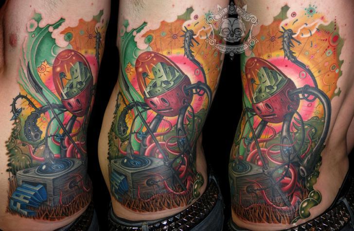 Fantasie Seite Roboter Tattoo von Tim Kerr