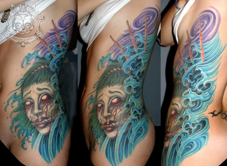 Side Japanese Demon Wave Tattoo by Tim Kerr