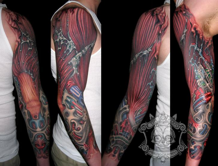 Biomechanical Sleeve Tattoo by Tim Kerr