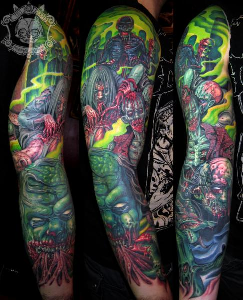 Fantasy Monster Sleeve Tattoo by Tim Kerr