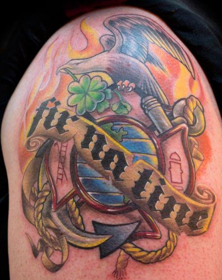 Schulter Leuchtturm Adler Tattoo von Heather Maranda