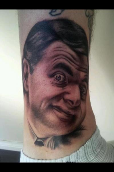 Realistic Mr Bean Ankle Tattoo by Border Line Tattoos