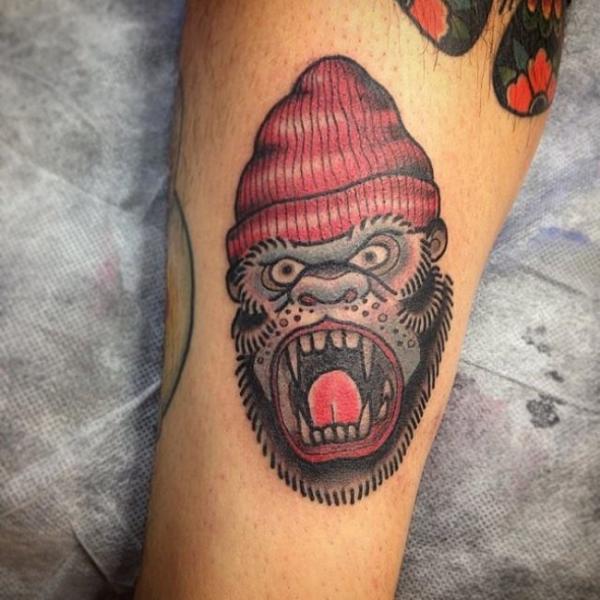 Arm Gorilla Hat Tattoo by Border Line Tattoos