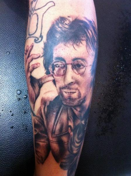 Arm Portrait Realistic John Lennon Tattoo by Border Line Tattoos