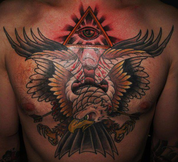 Chest Old School Eagle Tattoo by Border Line Tattoos