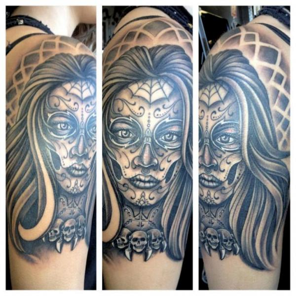 Shoulder Mexican Skull Tattoo by Border Line Tattoos