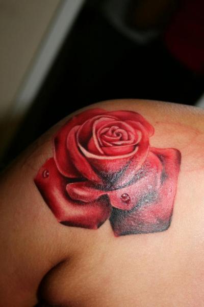 Shoulder Realistic Flower Tattoo by Border Line Tattoos