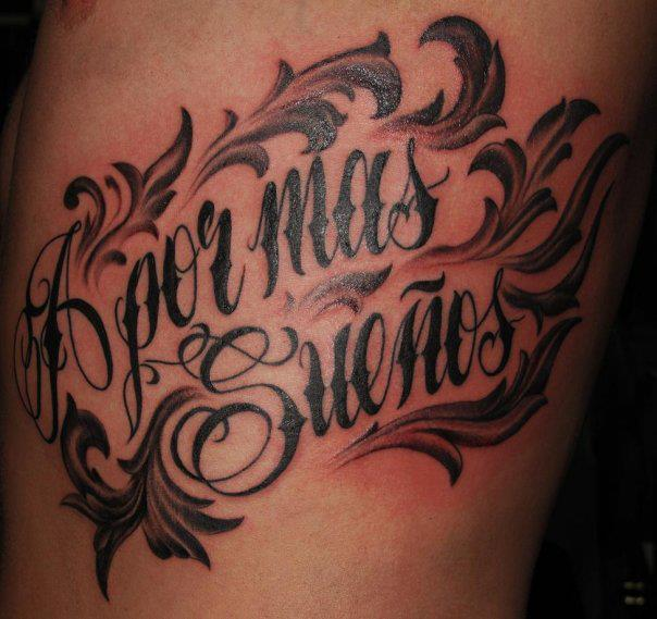 Side Lettering Tattoo by Border Line Tattoos