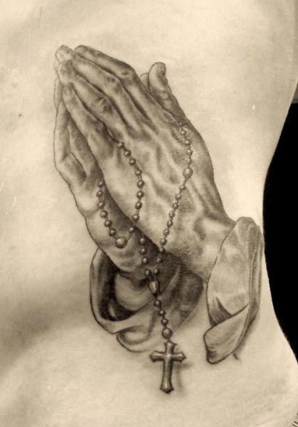 Realistic Side Praying Hands Hands Religious Tattoo by Border Line Tattoos