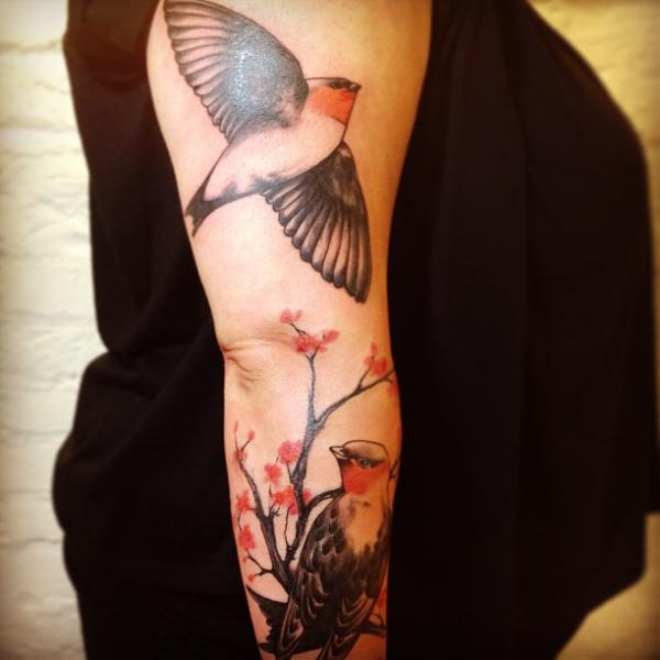 Arm Realistic Bird Tattoo by Madame Chän