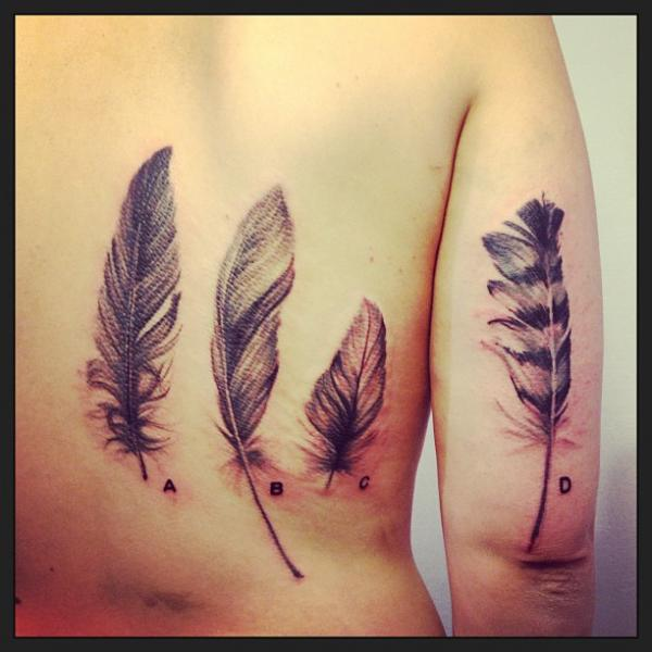 Arm Feather Back Tattoo by Madame Chän