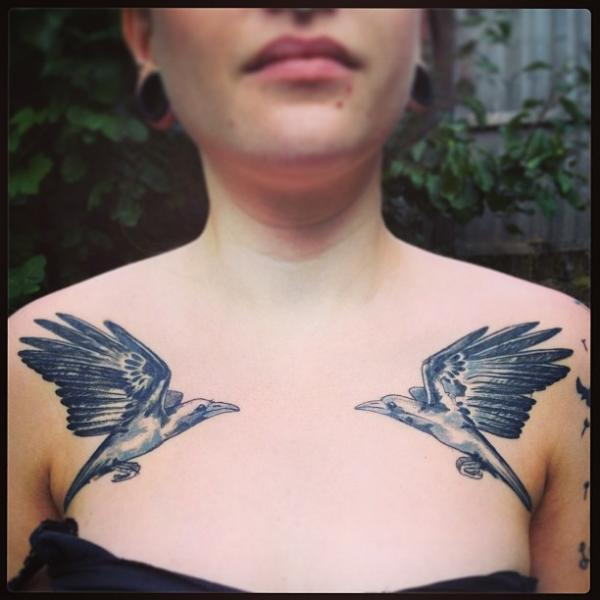 Breast Bird Tattoo by Madame Chän