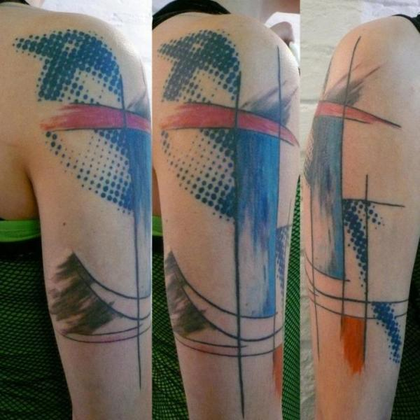 Shoulder Bird Abstract Tattoo by Madame Chän
