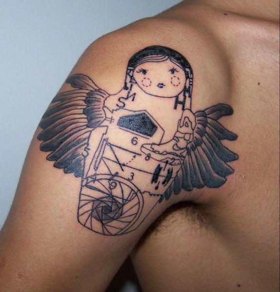 Shoulder Matryoshka Wings Line Tattoo by Madame Chän