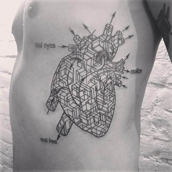 Heart Side Dotwork Tattoo by Madame Chän