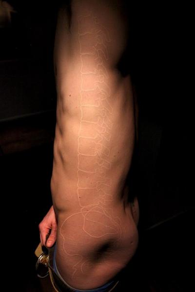 Side Skeleton White Ink Tattoo by Madame Chän