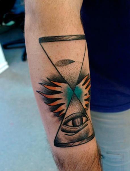 Tatuaggio Braccio Clessidra Dotwork di Mariusz Trubisz