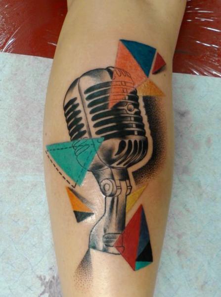 Arm Microphone Tattoo by Mariusz Trubisz