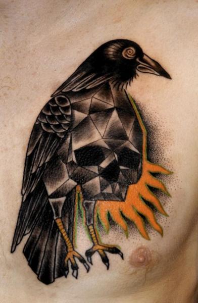Chest Skull Dotwork Crow Tattoo by Mariusz Trubisz