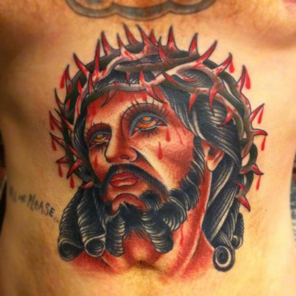 Jesus Religious Belly Tattoo by Pioneer Tattoo