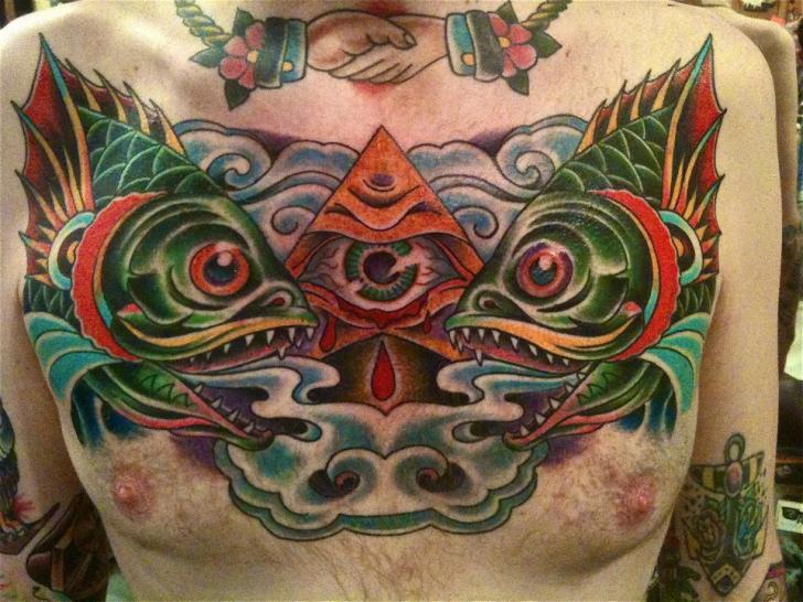 New School Chest God Fish Tattoo by Pioneer Tattoo